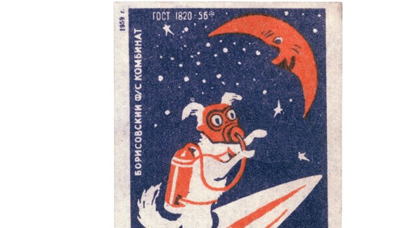 A matchbox label (1959) from the Borisovsky Works shows a space dog flying to the Moon.