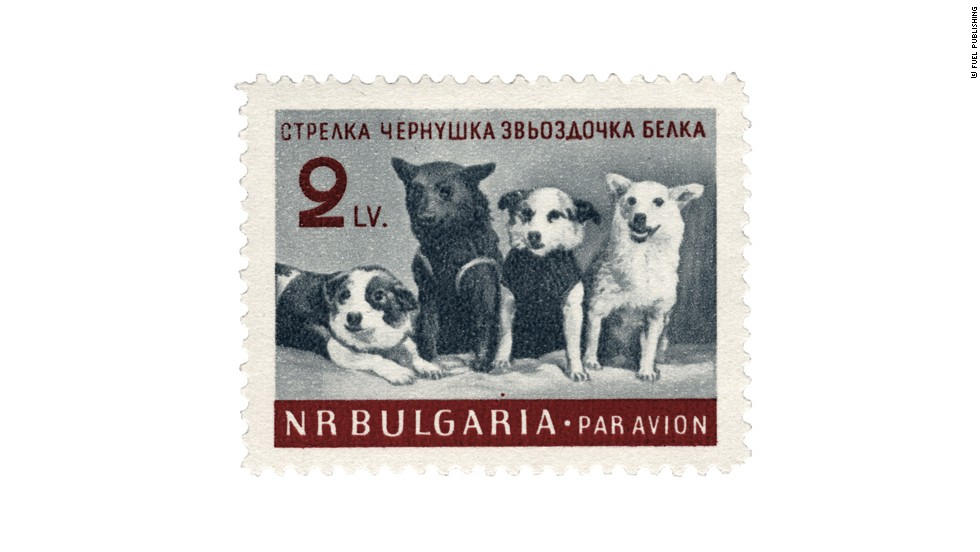 This stamp shows a group portrait taken at the press conference held on 28 March 1961. It's Bulgarian, dating from when it was a satellite of the Soviet Union.