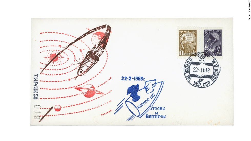 A USSR-era envelope (1966) with a cartoon version of the dogs in their spaceship.