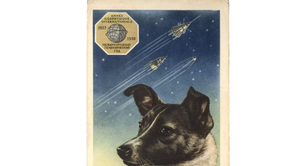 Laika became a national treasure, a sort of martyr for the USSR. As such, the celebrity dog would appear on a range of posters, toys and stamps. This is a portrait of Laika on a postcard (1958) by the artist E. Gundobin, with the first three Sputniks in the background.