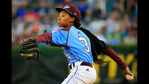Mo'ne Davis of Pennsylvania pitches to a Nevada batter during the first inning of the United States division game at the Little League World Series at Lamade Stadium on Tuesday, August 20,  in South Williamsport, Pennsylvania.