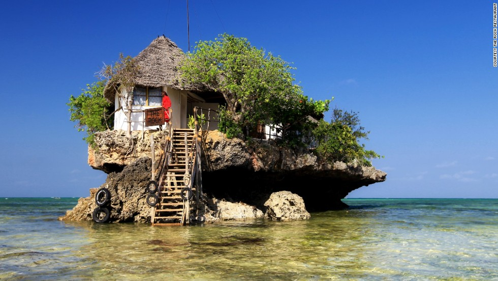 Rising on a rock off the south-east coast of Zanzibar, The Rock is a popular restaurant offering idyllic views and fresh food. Located in front of Michanvi Pingwe beach, the restaurant serves up to 12 tables.