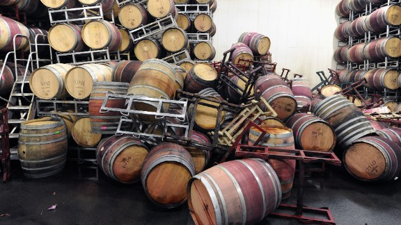 Barrels are strewn about inside the storage room of Bouchaine Vineyards in Napa on August 24.