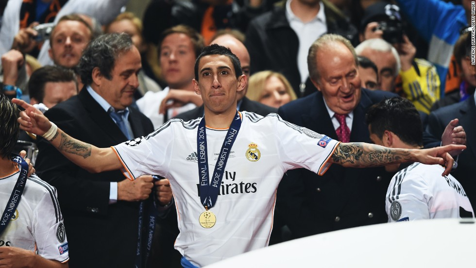 Di Maria helped Real Madrid win the Champions League with a 4-1 win over city rival Atletico Madrid. It was the 10th time Real has won Europe's top club prize.