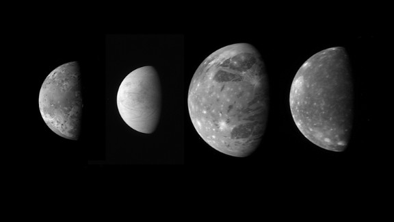 "On its way to Pluto, New Horizons snapped these photos of Jupiter's four large ""Galilean"" moons. From left is Io, Europa, Ganymede and Callisto."