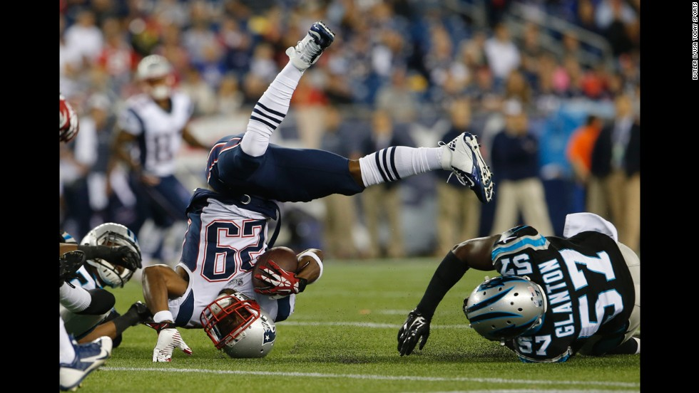 New England Patriots cornerback Logan Ryan makes a catch in the second half of a preseason game against the Carolina Panthers on Friday, August 22, at Gillette Stadium in Foxborough, Massachusetts. New England won 40-7.