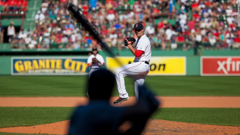 Heath Hembree of the Boston Red Sox pitches against the Seattle Mariners during the sixth inning on Sunday, August 24, at Fenway Park in Boston. Seattle won 8-6.