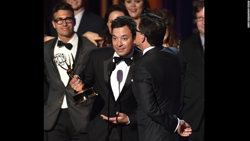 "Having someone else do the acceptance speech legwork was a theme this year, as Stephen Colbert had Jimmy Fallon take the stage and act as his mouthpiece for the outstanding variety series Emmy win. ""I want to thank his wife and his children,"" Fallon said, playing along as Colbert whispered in his ear. ""They're just fantastic. And everyone who's worked on the show for the last nine years. ... If you always wanted to work on the show and you don't have a chance now because it's ending, just put your name on IMDb and I'll back you up. Just call yourself like a creative consultant or some bull***t like that."""