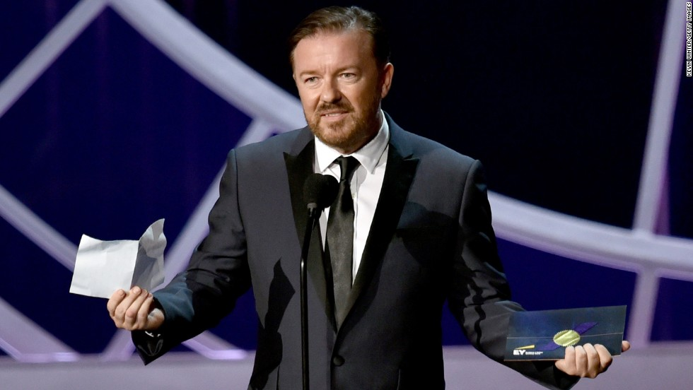 "If you're going to be a sore loser, be a funny one, like Ricky Gervais. ""Well done to Jim Parsons,"" Gervais said after losing the outstanding actor in a comedy Emmy to the ""Big Bang Theory"" star. ""I've come a long ways, he's probably local. It's like, four years in a row seems unfair, doesn't it?"""