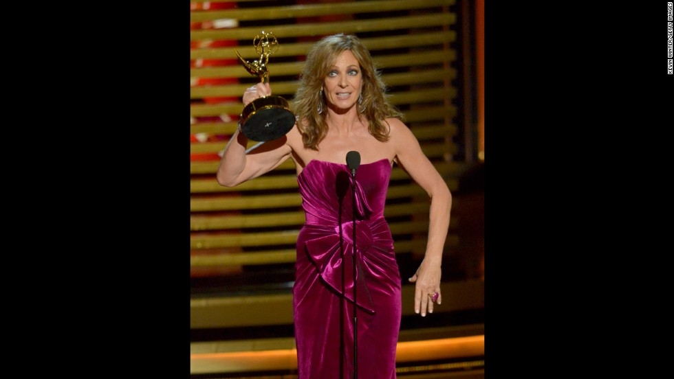 "Allison Janney's outstanding supporting actress in a comedy Emmy was presented by Jimmy Kimmel, who spent most of his time ribbing Matthew McConaughey. The laughter continued when Janney took the stage, who joked of her Emmy-winning role on ""Mom,"" ""Listen, I play a mom ... I play a grandmother and, as of last season, I play a grea-grandmother. I'm just crossing my fingers (that) this season I'll be incontinent."""