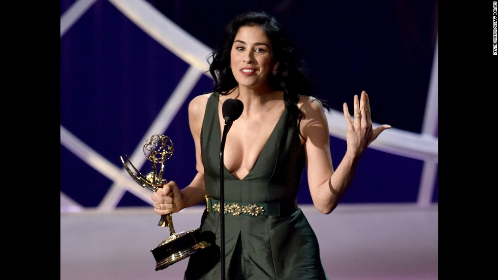 "Sarah Silverman was predictably unpredictable when she accepted her Emmy for outstanding writing for a variety special. The ""We Are Miracles"" scribe stepped behind the mic and announced, ""Thank you to my Jews at CAA."" She concluded with, ""We're all just made of molecules, and we're all hurtling through space right now. Thank you!"""
