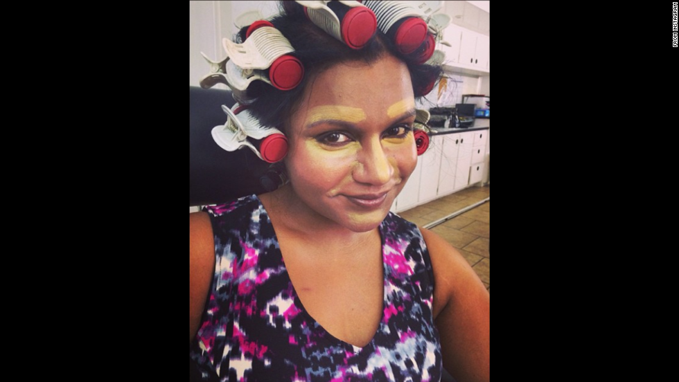 "Actress and comedian Mindy Kaling <a href=""http://instagram.com/p/r74H6bJQ_t/?modal=true"" target=""_blank"">posted this selfie</a> of her beauty preparation on her Instagram account on Wednesday, August 20."
