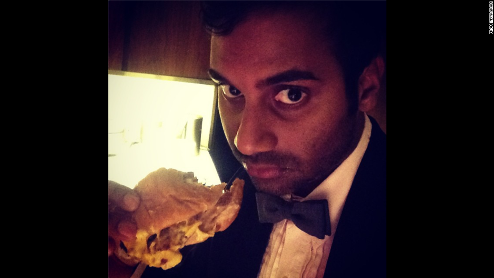"Actor and comedian Aziz Ansari poked fun at the Emmy awards by <a href=""http://instagram.com/p/sJ3MHayREF/?modal=true"" target=""_blank"">posting this selfie</a> on Instagram on Tuesday, August 26, with the message, ""Best Cheeseburger in a Drama MiniSeries. #InnOutInTuxedos"""