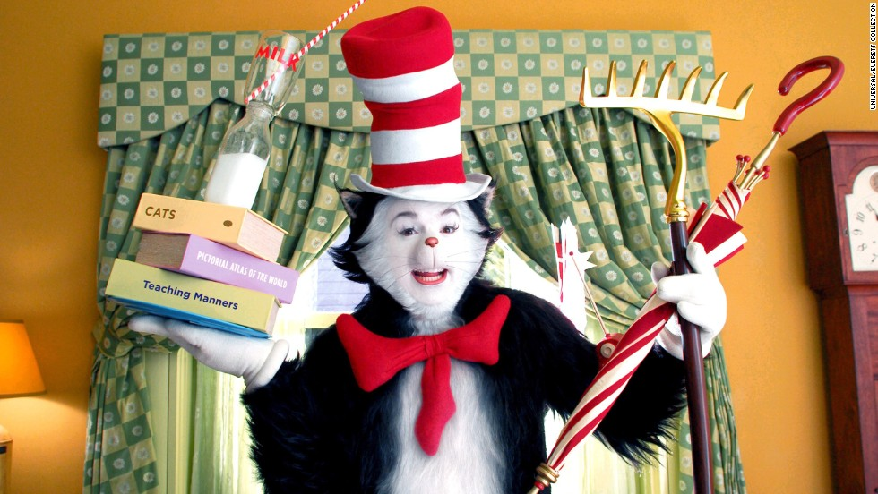 "Dr. Seuss' ""The Cat in the Hat"" character is recognizable for his red and white striped top hat and red bow tie. Here, the cat is portrayed by actor Mike Myers in 2003's ""The Cat in the Hat."""