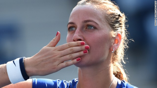 Petra Kvitova blows a kiss to the crowd after a convincing first round victory at Flushing Meadows.