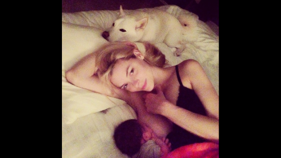 "Model Jaime King breastfeeds her son James in this intimate moment. King had a message to spread along with the photo: ""Breastfeeding should not be taboo -- and bottle feeding should not be judged -- it's ALL fun for the whole family:)"""