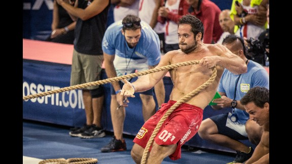 At the Games, athletes participate in a wide variety of challenges such as the Push Pull, which includes a series of handstand push-ups and sled pulls.