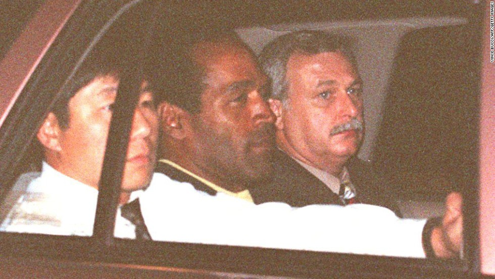 On June 17, ex-football star O.J. Simpson led police -- and the nation -- on a 90-minute chase in a white Ford Bronco driven by his friend Al Cowlings. Simpson surrendered at his home later that night and was taken into custody after being charged with the murder of his ex-wife, Nicole Simpson, and her friend Ronald Goldman.