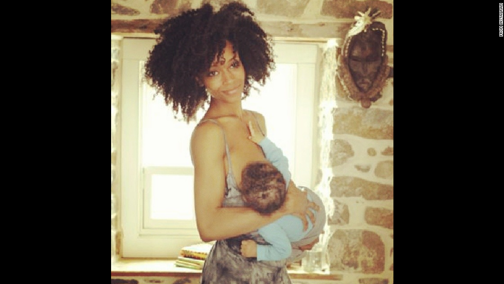 "Model and actress Yaya Dacosta posted this photo of herself feeding her son Sankara. Her <a href=""http://instagram.com/p/lv4qTikeIC/"" target=""_blank"">message</a>: ""vitamins for society! #normalizenursing"""