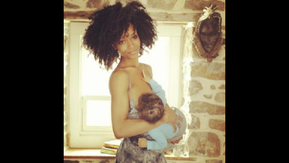 "Model and actress Yaya Dacosta posted this photo of herself feeding her son Sankara. Her message: ""vitamins for society! #normalizenursing"""
