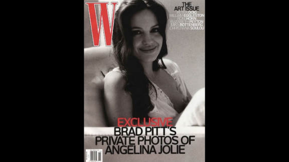 """Actor Brad Pitt took this W magazine cover photo of his partner<a href=""""http://www.wmagazine.com/people/celebrities/2008/11/brad_pitt_angelina_jolie/"""" target=""""_blank"""" target=""""_blank""""> Angelina Jolie</a> while she breastfed one of their twins in 2008."""
