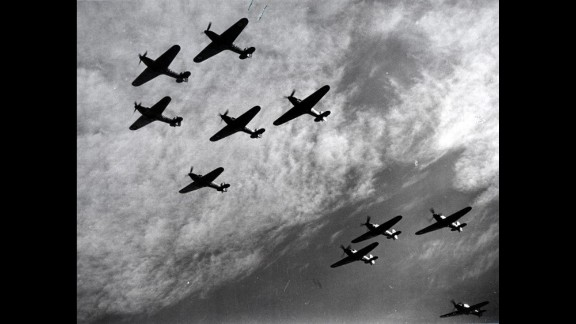 British Hawker Hurricanes fly in formation during the Battle of Britain in 1940. The planes were a first line of defense against German bombers attacking England. The battle, fought between July 10 and October 31, 1940, was the first major battle to be won in the air. The Royal Air Force