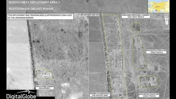 These two images show a military deployment site on the Russian side of the border near Rostov-on-Don, NATO said. This location is about 31 miles from the Dovzhansky border checkpoint.