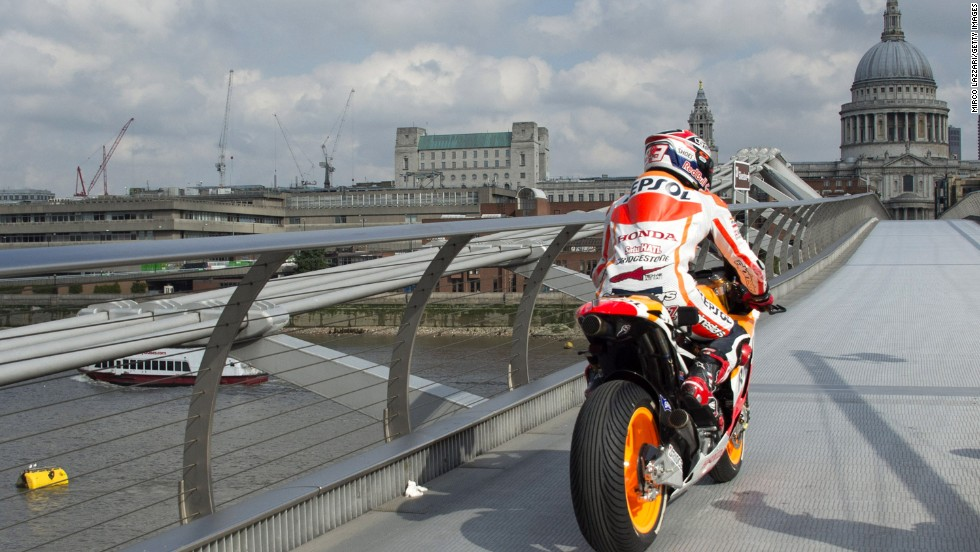 Ahead of the British Grand Prix, Marquez became the first person to cross the footbridge on a motorbike to help promote the race.