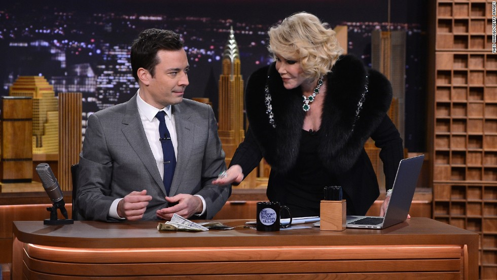 "After a falling-out with Johnny Carson, Rivers didn't return to the ""Tonight Show"" until earlier this year, when Jimmy Fallon took over as host. She was a guest on Fallon's show on February 17."