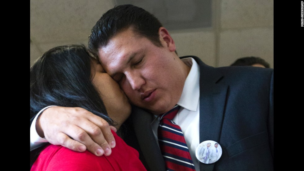 "David Barajas gets a kiss from his wife, Cindy, after a jury <a href=""http://www.cnn.com/2014/08/28/us/texas-father-acquittal/index.html"">acquitted him of murder</a> in Angleton, Texas, on Wednesday, August 27. Barajas was accused of fatally shooting Jose Banda in December 2012, minutes after Banda hit a truck Barajas and his two sons were pushing after it ran out of gas. Twelve-year-old David Jr. and 11-year-old Caleb were both killed. Barajas could have been sentenced to up to life in prison if he had been convicted."
