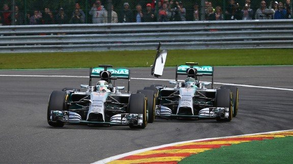 Round 12: Sparks fly at Spa as Rosberg and Hamilton collide during the Belgian Grand Prix. The incident, which forced Hamilton to retire, is a major flashpoint in an increasingly strained season for the former teenage friends. Rosberg finished the race in second.