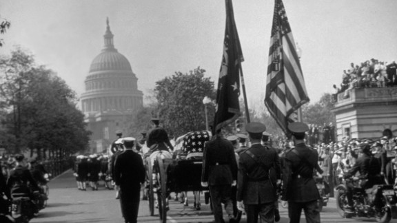 President Franklin D. Roosevelt's funeral procession goes down Connecticut Avenue on its way to the White House. Roosevelt died on April 12, 1945, in Warm Springs, Georgia, just weeks before Germany's surrender.