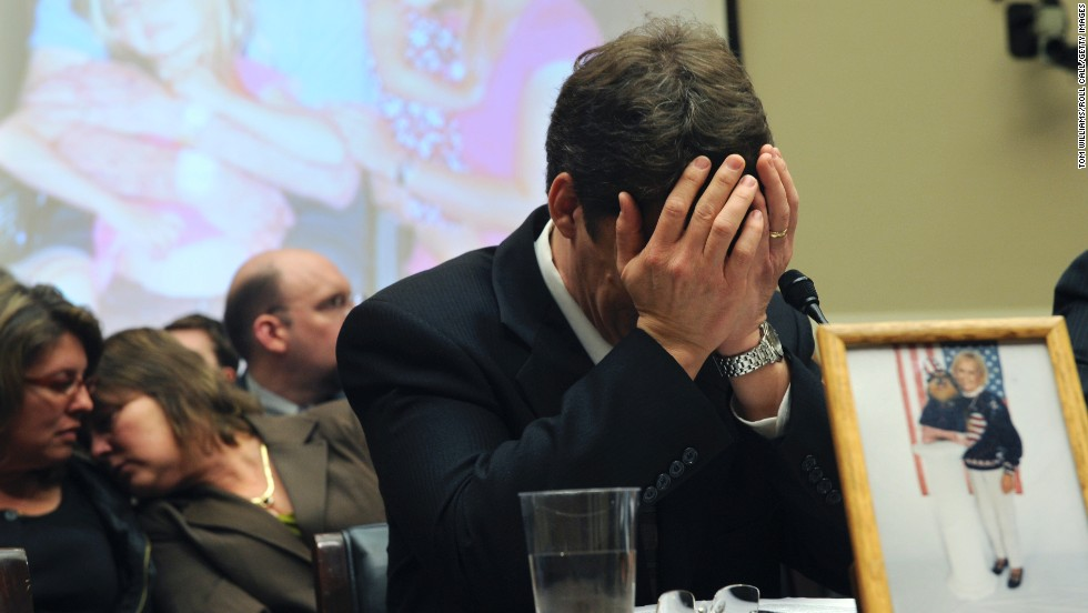 Jeff Almer breaks down after testifying before Congress about his mother Shirley, who died in late 2008 after eating salmonella-laced peanut butter with her toast. Almer became an advocate for stronger food safety regulations.
