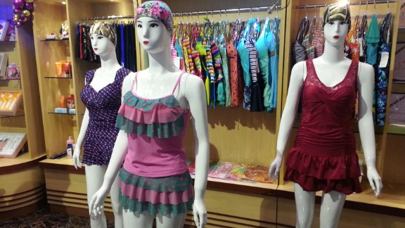 The latest North Korea swimsuit fashion on display at a Pyongyang water park.