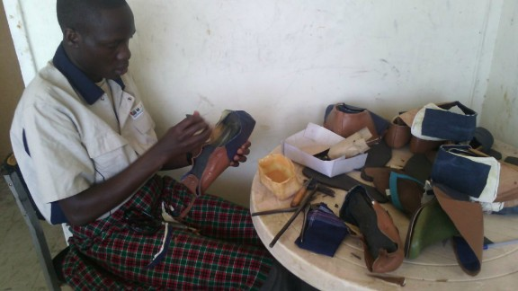 Shoe company Maasai Treads is also using the donated leather to promote job training. The company is making sandals from the leather, which in turn is donated to local children as part of a campaign to protect them from jiggers -- a debilitating foot parasite.