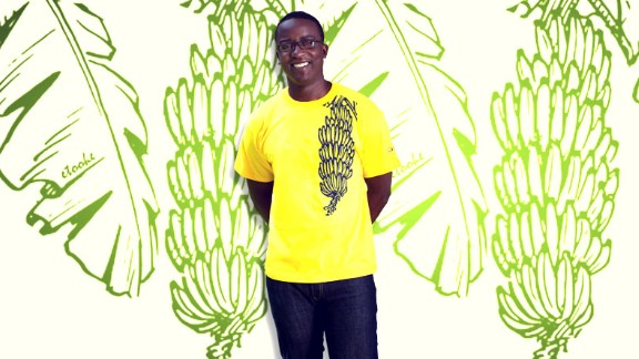 A picture of a matooke, a staple food in central and south western Uganda is featured on this t-shirt as part of the company
