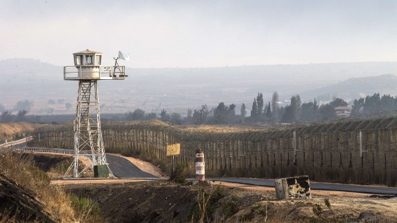 A  watchtower overlooks the Golan Heights on August 29, 2014.