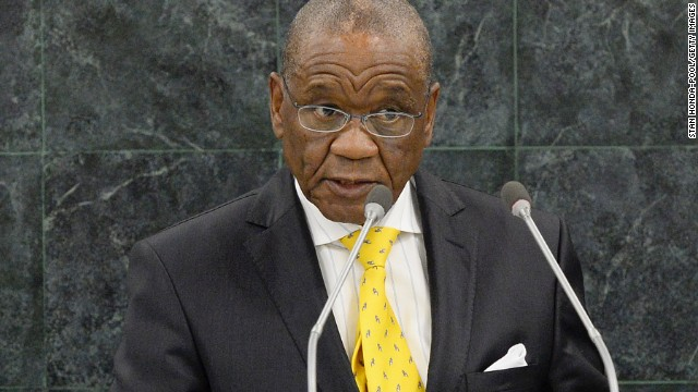 Thomas Thabane, Prime Minister of Lesotho, addresses the 68th U.N. General Assembly on September 26, 2013.