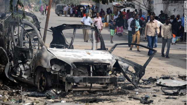 The site of a car bomb and gun attack on a prison and intelligence headquarters in Mogadishu on August 31, 2014.