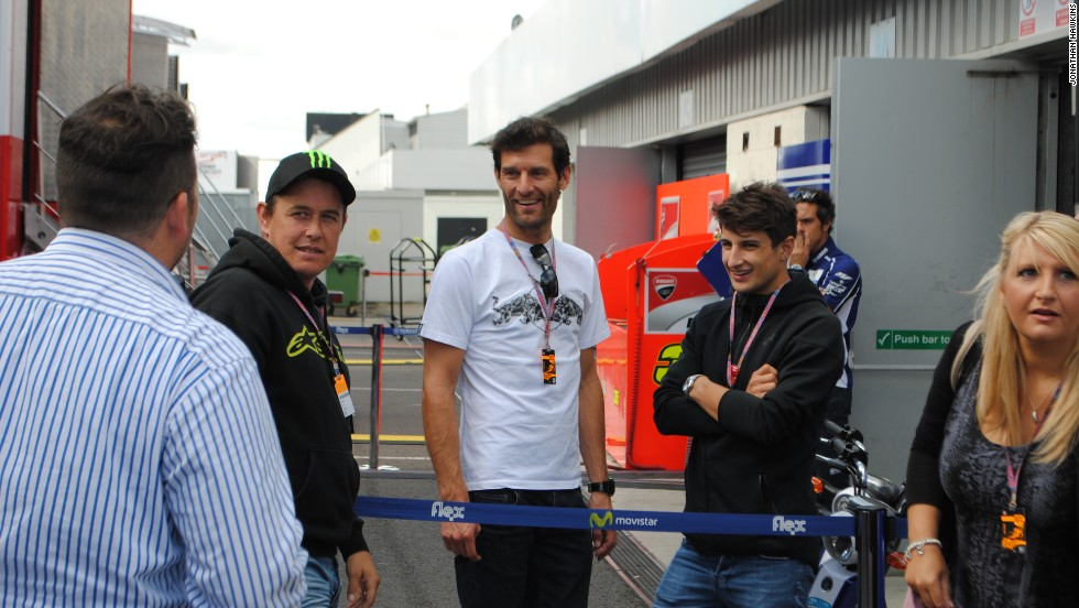 Former Formla One star Mark Webber was among the fans at Silverstone for the British MotoGP.