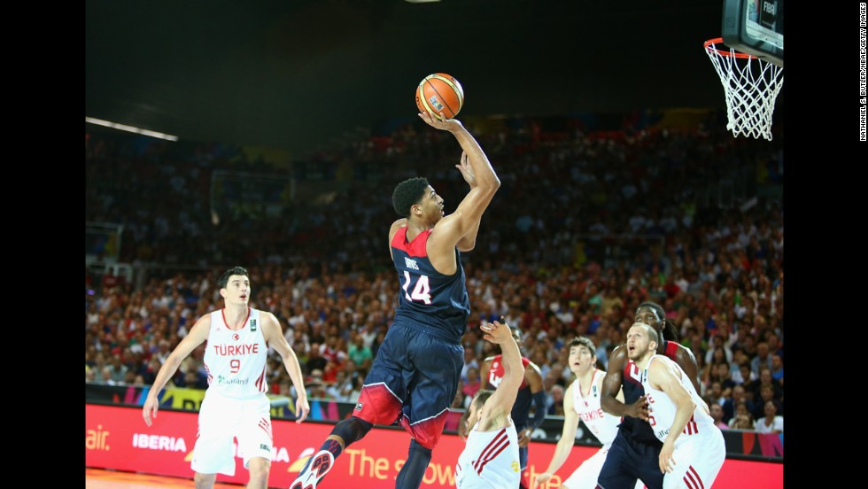 Anthony Davis of the United States takes a shot during a FIBA World Cup game against Turkey on Sunday, August 31. The tournament, which is being hosted by Spain, ends September 14.