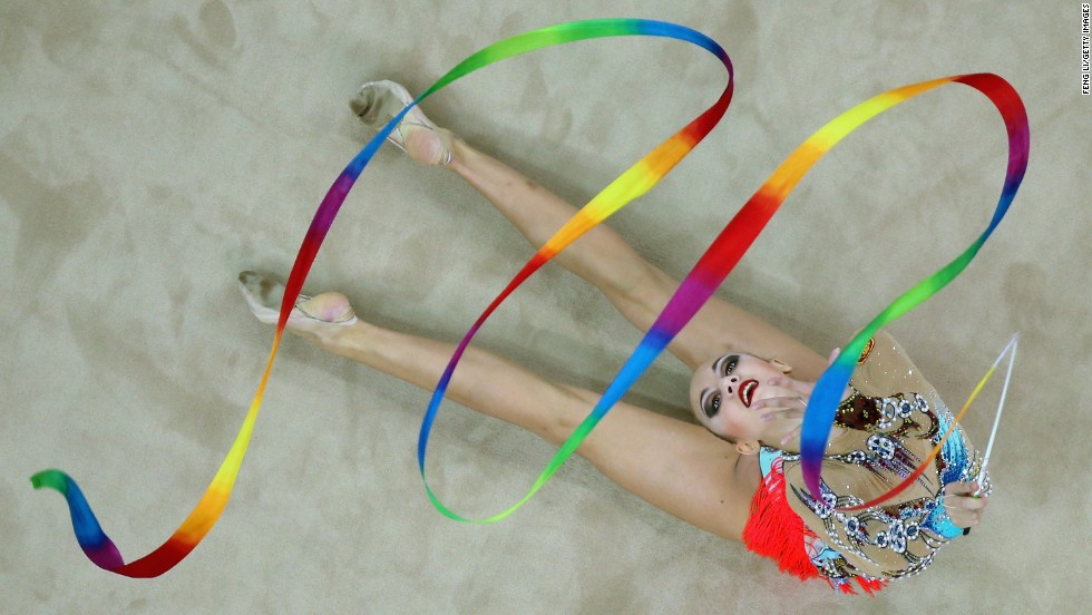 Irina Annenkova, a rhythmic gymnast from Russia, competes in the individual all-around Tuesday, August 26, at the Youth Olympic Games in Nanjing, China. She won gold in the event.