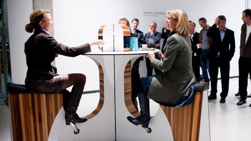 Wewatt's desks charge up to 12 devices at once - with all of the man (and woman) power generated through pedalling.