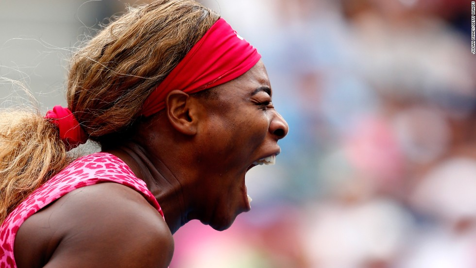 Serena Williams reacts during her U.S. Open match against Varvara Lepchenko on Saturday, August 30. Williams triumphed in straight sets as she looks to win the tournament for the third year in a row.