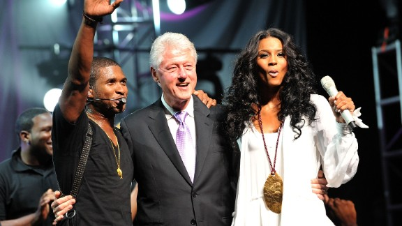 Clinton joins singers Usher and Ciara at the New Look Foundation