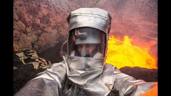 """Television personality George Kourounis takes a selfie at Ambrym, a volcanic island in Vanuatu, on Wednesday, August 27. """"Volcano #selfie. When normal selfies are not extreme enough!"""" he tweeted."""