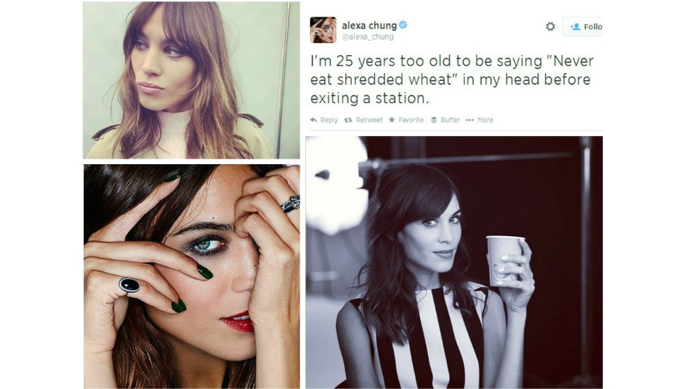 "<strong>6. Alexa Chung, TV Presenter</strong><br /><a href=""http://instagram.com/chungalexa"" target=""_blank""><strong>Instagram</strong></a><strong> followers:</strong> 1,102,018<br /><a href=""https://twitter.com/alexa_chung"" target=""_blank""><strong>Twitter</strong></a><strong> followers: </strong>1,350,000<br /><strong>Credits:</strong> TV presenter, model, contributing Editor at <a href=""http://www.vogue.co.uk/"" target=""_blank"">British Vogue</a><br /><strong>Posts: </strong>Doodles, celebrity friends and whimsical musings."
