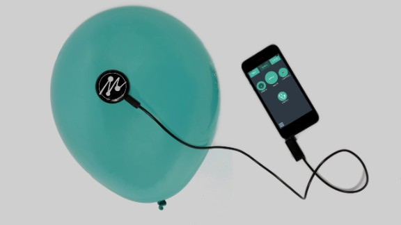 The sensor contains a microphone that detects the acoustic properties of the object to create notes.