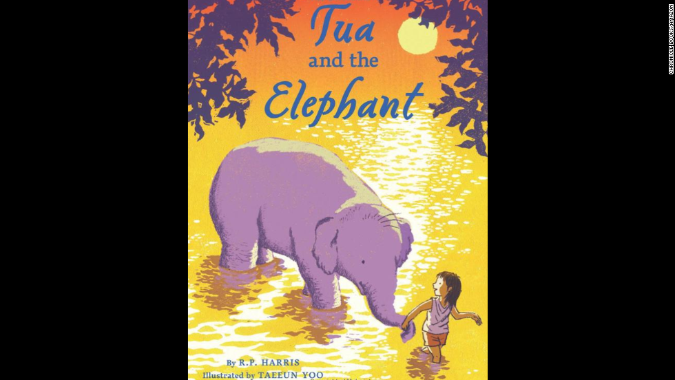 """Tua and the Elephant"" by R.P. Harris, recommended for ages 8+, centers around a 10-year-old girl saving an abused elephant in Thailand."