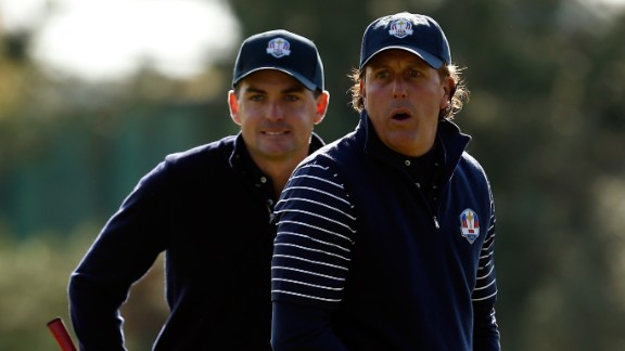 """Bradley returned three points out of four in his first Ryder Cup, forming a strong partnership with five-time major champion Phil Mickelson. But he lost his Sunday singles match to Rory McIlroy as Europe overturned a 10-6 deficit to win 14 ½  to 13 ½. He said: """"I think this is a redemption year for a lot of guys who were on the team in 2012."""""""